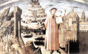 figura 127 - L'Universo di Dante. Pittura di Michelino nella Cattedrale di Firenze. (Italia)