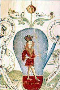 figura 162 -Rubino, pittura di J. Andrese. Manoscritto sec. XV^. British Museum, Londra. (Inghilterra)