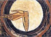 """Mano di Dio"""", gesto di benedizione in una pittura murale di San Clemente di Taull. Museo d'Arte di Catalogna, Barcellona(Spagna)"""