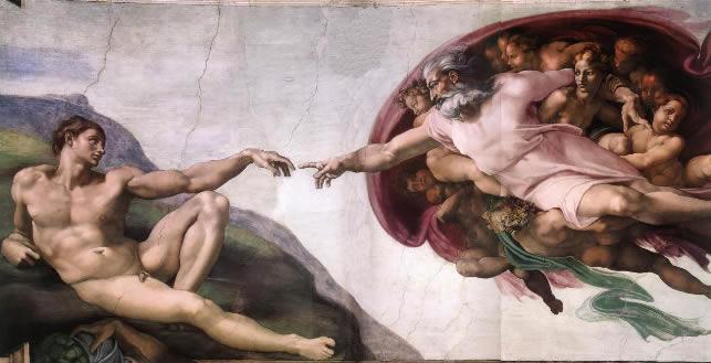 La creazione di Adamo, Michelangelo, 1511 Cappella Sistina, Roma (Italia)