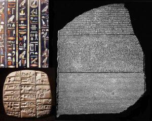 Esempi di scrittura (pittografica, cuneiforme, fonetica)