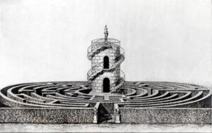 Incisione del labirinto della Villa Pisani, Stra, G. B. Carboni, N. Randonnette, XVIII sec.